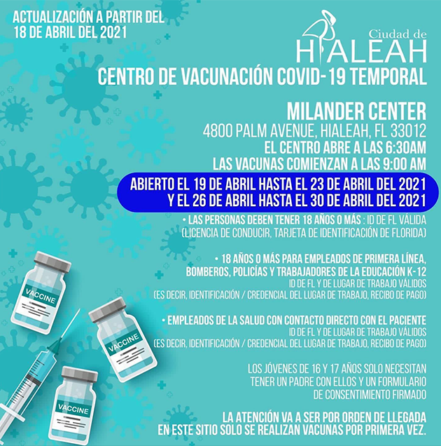 vacunación temporal en Miami